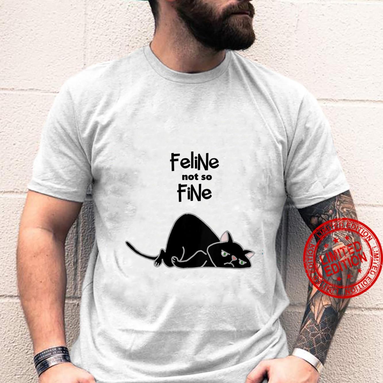 Womens Smileteesfunny Feline Not so Fine Black Cat Pun Shirt