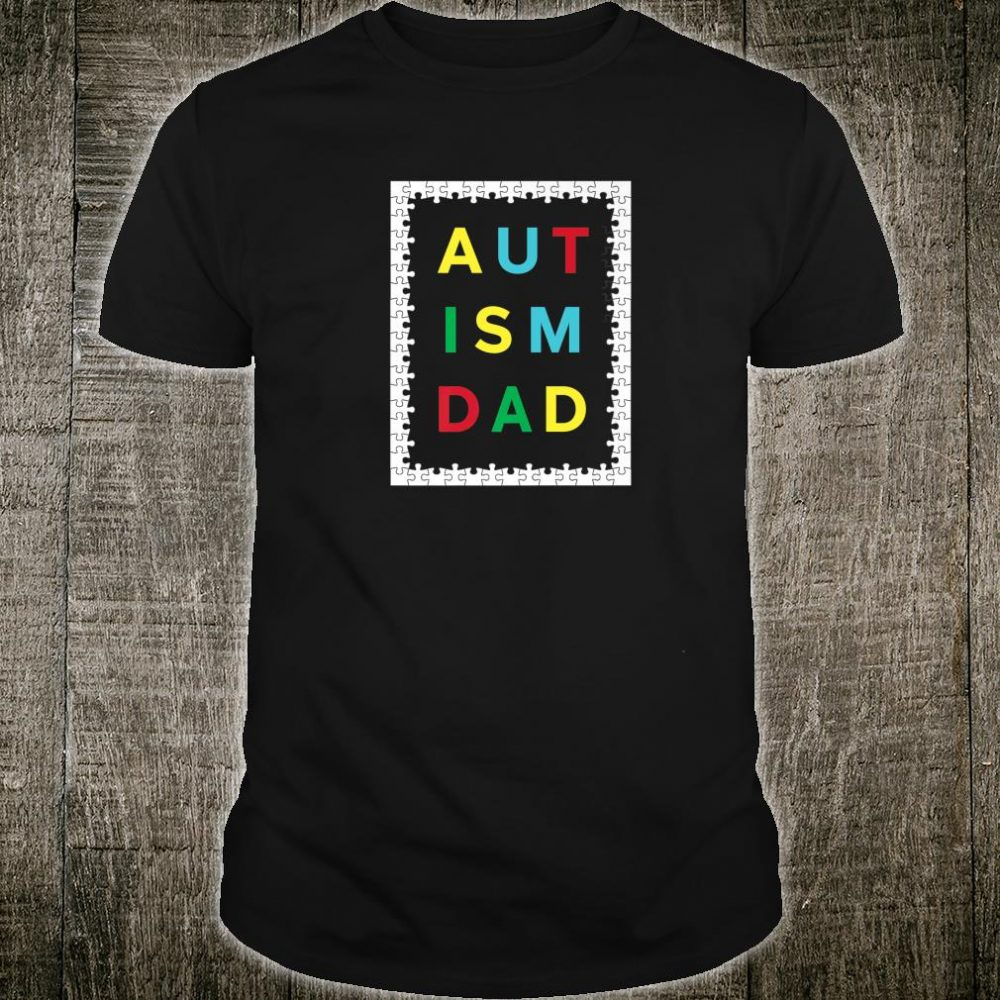 Autism Dad White Puzzle Border Autistic Awareness Design Shirt