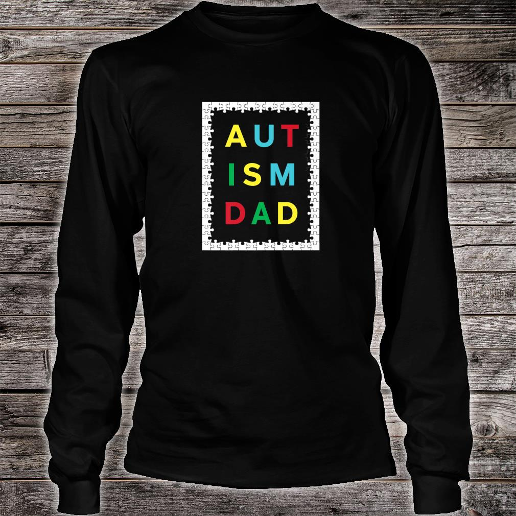 Autism Dad White Puzzle Border Autistic Awareness Design Shirt long sleeved