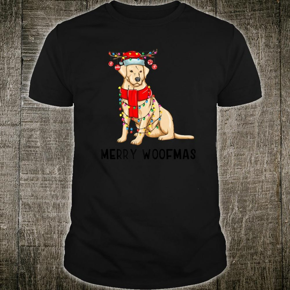 Christmas Cute Yellow Lab Dog Holiday Lights Merry Woofmas Shirt