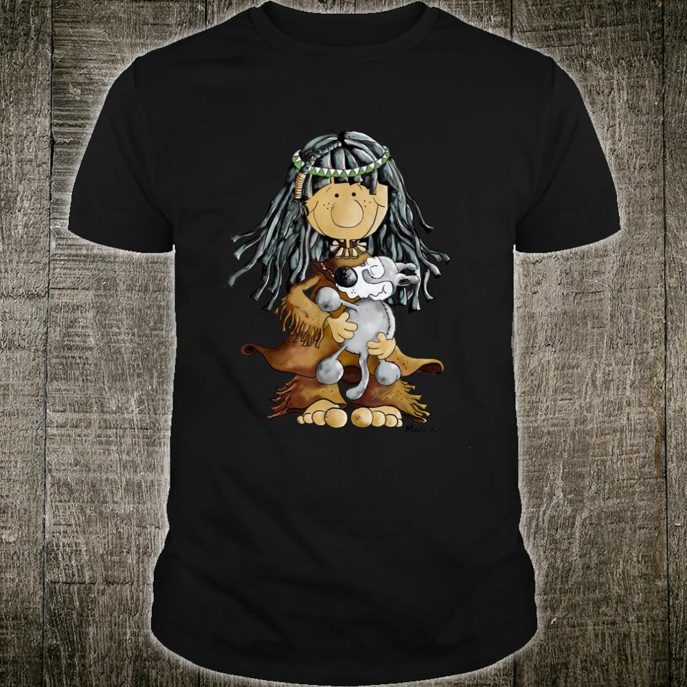 Cute Indian Girl With Wolf Puppy For Nature Shirt