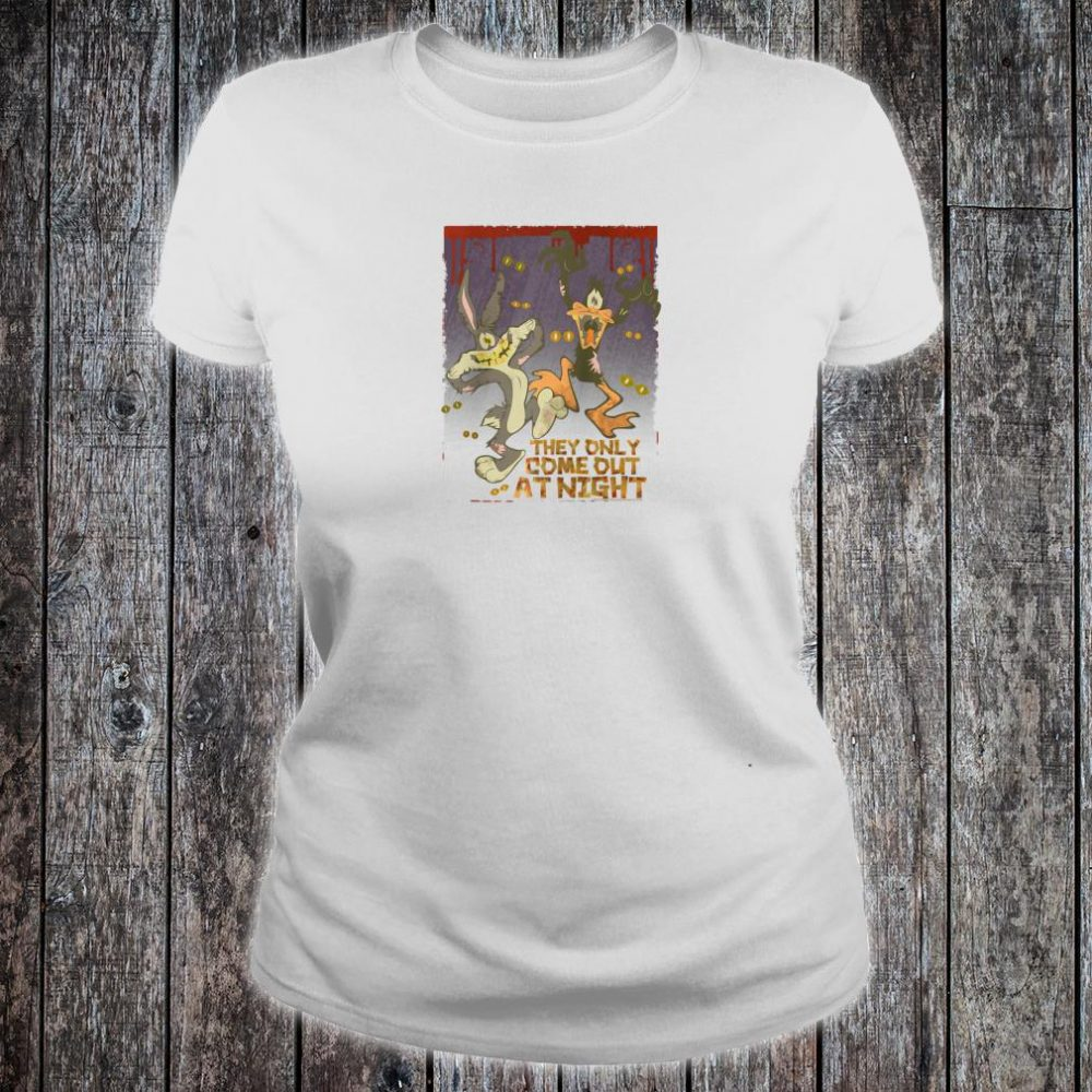 Looney Tunes Bugs and Daffy the Only Come at Night Shirt ladies tee