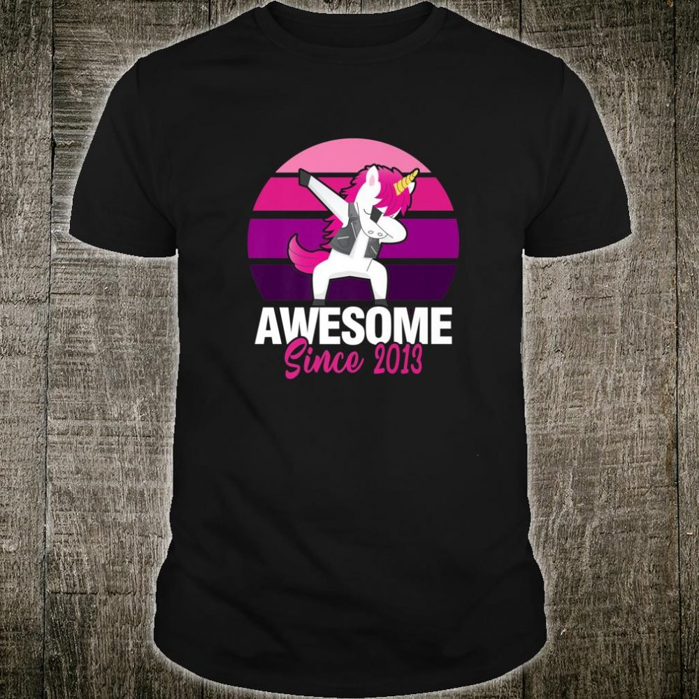 Vintage Dabbing Unicorn 7th For 7 Year Old Birthday Shirt